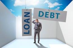 De zakenman in schuld en leningsconcept vector illustratie