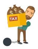 De zakenman sloot in een een schuldbal en keten vector illustratie