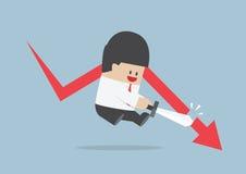 De zakenman sneed de dalende grafiek, effectenbeurs, Financiële conce Stock Afbeeldingen