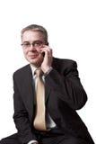 De zakenman spreekt door celtelefoon Royalty-vrije Stock Afbeelding