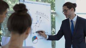 De zakenman spreekt over inkomens van bedrijf stock videobeelden