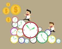 De zakenman stelt in zeven haasten looppas in werking op tijd Door de zaken D royalty-vrije illustratie