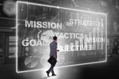 De zakenman in strategische planningsconcept stock foto's