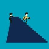 De zakenman is succesvol terwijl de concurrent niet succesvol is Stock Afbeelding