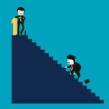 De zakenman is succesvol terwijl de concurrent niet succesvol is Royalty-vrije Stock Foto