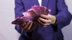 De zakenman telt geld in handen stock footage