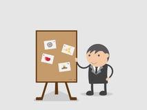 De zakenman toonde hoe te om door plan te nummeren heeft langs doel, samenwerkt, besteedt aandacht of huidig resultaat van beheer Stock Afbeelding