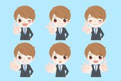 De zakenman toont één tot zes vector illustratie