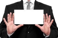 De zakenman toont adreskaartje met exemplaarruimte Royalty-vrije Stock Afbeelding