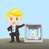 De zakenman toont 3D printer Royalty-vrije Stock Foto's