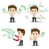 De zakenman toont financiëngeld Royalty-vrije Stock Fotografie
