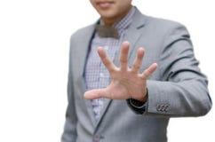 De zakenman toont het teken van de eindehand stock foto