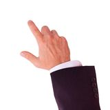 De zakenman toont kliks op uw reclame stock foto