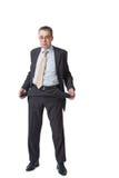 De zakenman toont lege zakken Stock Foto's