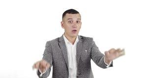 De zakenman toont tekensvingers: stock videobeelden
