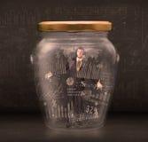 De zakenman traped in kruik met de symbolenconcept van de grafiekgrafiek royalty-vrije stock fotografie