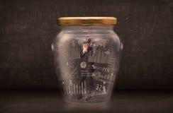 De zakenman traped in kruik met de symbolenconcept van de grafiekgrafiek stock foto