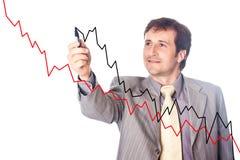 De zakenman trekt de groeigrafieken Royalty-vrije Stock Afbeeldingen
