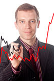 De zakenman trekt de groeigrafieken Stock Foto