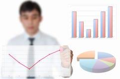 De zakenman trekt grafiek voor jaar 2012 Royalty-vrije Stock Afbeeldingen