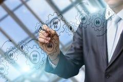 De zakenman trekt het mechanisme van beheer van het bedrijf stock afbeeldingen