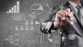 De zakenman trekt pictogram en voorwerp voor businessplan Stock Foto's