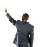 De zakenman van Afroammerican benadrukt vinger stock foto