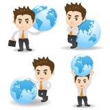 De Zakenman van de beeldverhaalillustratie met globaal Stock Afbeelding