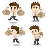 De Zakenman van de beeldverhaalillustratie met moneybag Stock Afbeeldingen