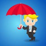 De zakenman van de beeldverhaalillustratie met paraplu Royalty-vrije Stock Foto