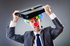 De zakenman van de clown - grappig bedrijfsconcept Stock Fotografie