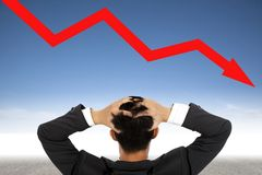 De zakenman van de depressie en crisisconcept Royalty-vrije Stock Fotografie