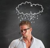 De zakenman van de pessimist voor de crisis Stock Afbeeldingen