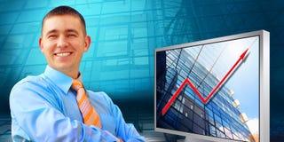 De zakenman van het geluk Stock Fotografie