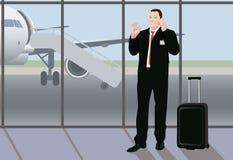 De zakenman van het succes multitask in de luchthaven royalty-vrije illustratie