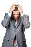 De zakenman van Panicking Stock Afbeeldingen