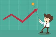 De zakenman verandert positief statistieken binnen en naar omhoog trekkend grafiek Royalty-vrije Stock Foto