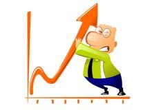De zakenman verbetert de groeiperforma van het bedrijf Stock Afbeeldingen