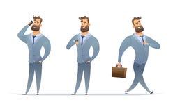De zakenman in verschillend stelt, het spreken op de telefoon, het bekijken zijn horloge en het lopen Vastgesteld managerkarakter royalty-vrije illustratie
