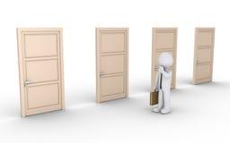 De zakenman is verward over juiste deur Stock Foto