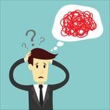 De zakenman verwart van het denken en leidt Stock Afbeelding
