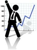 De zakenman viert Succes het Bedrijfs van de Groei Stock Fotografie