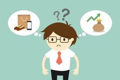 De zakenman voelt geplakt tussen twee keuzen royalty-vrije illustratie
