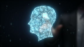 De zakenman wat betreft Hersenenhoofd verbindt digitale lijnen, die kunstmatige intelligentie uitbreiden stock video