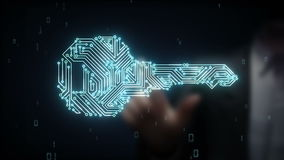 De zakenman wat betreft veiligheids zeer belangrijk systeem, vindt de technologie van het oplossingsconcept