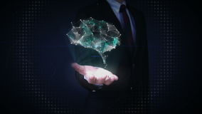De zakenman wat betreft vorm van Hersenen verbindt digitale lijnen, die kunstmatige intelligentie uitbreiden stock video