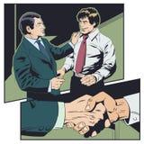 De zakenman wenst collega geluk De werkgever prijst ondergeschikt vector illustratie