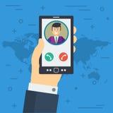 De zakenmanhand keurt het telefoongesprek goed stock illustratie
