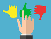 De zakenmanhand selecteert emoties Stock Illustratie