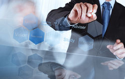De zakenmanhand toont toestel bedrijfssuccesgrafiek Stock Foto's